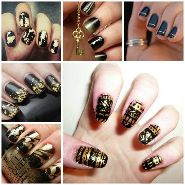 Nail Art Designs In Black And Gold Hession Hairdressing