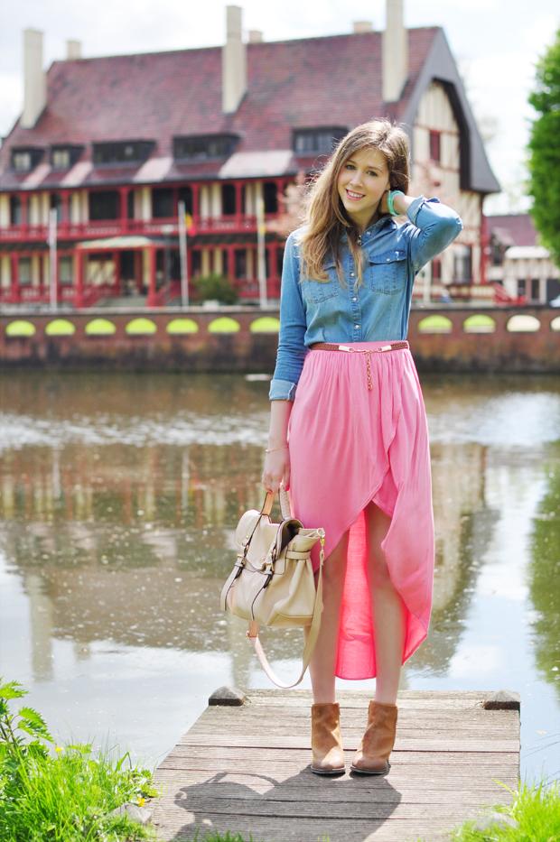 stylelab fashion blog ootd lotd outfit spring blossom denim shirt pink skirt a